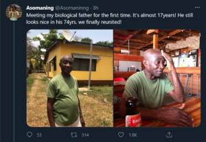 Heartwarming moment as son meets his biological father for the first time in about 17 years