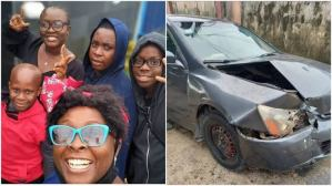 Popular OAP, Lolo and kids  escape death in car accident
