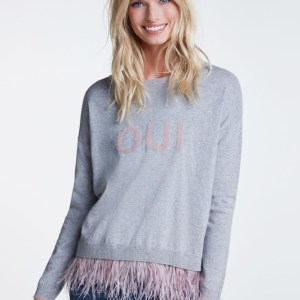 oui knit with feathers