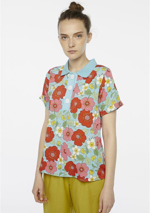 blue floral blouse top dressy