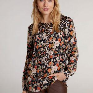 oui floral leopard print blouse Effigy