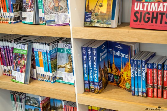 The travel guide section at the Carturest Carusel Bookstore in Bucharest