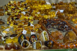 Amber jewelry at the Central Market in Riga