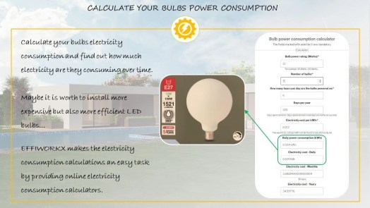 Online calculator - Calculate your bulb power consumption