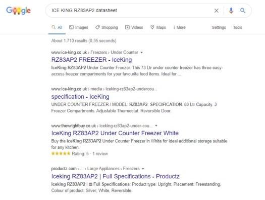 Searching for freezer datasheet