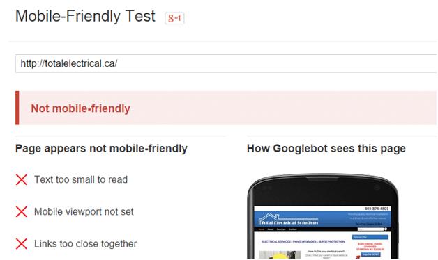 mobile friendly website test link for Google