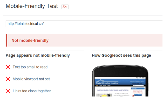 mobile friendly website test link for Google