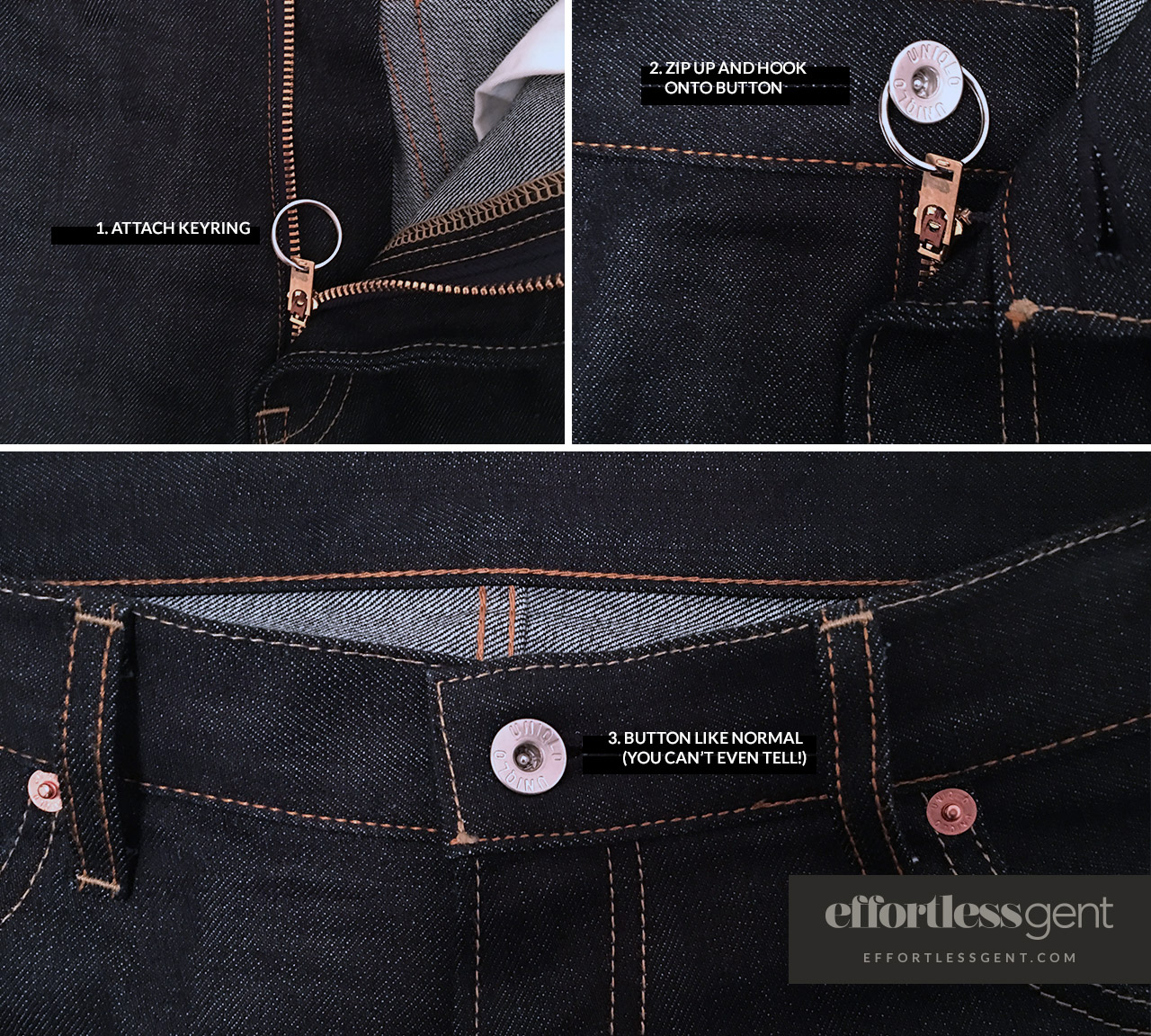 pants and keyring zipper hack