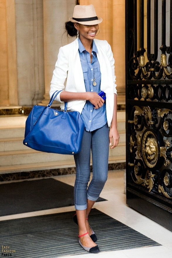 10 Ways to Wear a White Blazer Chambray Shirt