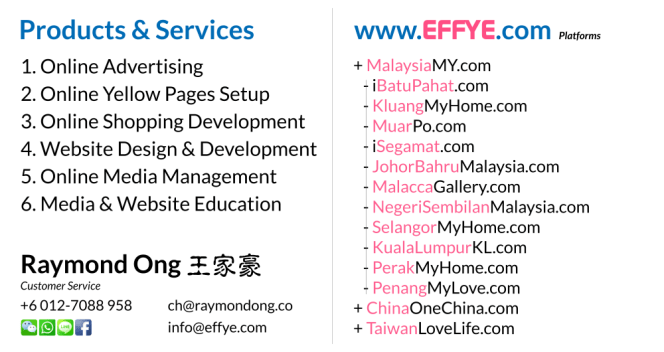 JB Raymond Ong Effye Media Johor Bahru Website Design Online Media Advertising Web Development Education Webpage Facebook eCommerce Management Photo Shooting Malaysia NC02