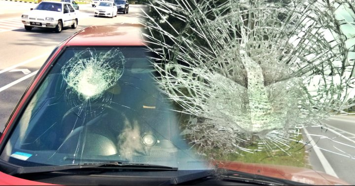 Accident with a rock hit to a car