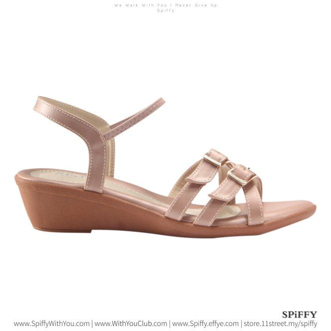 Fashion Modern Malaysia Heels Sandal Shoes 时尚凉鞋 Spiffy Brand YYM1774027 Pink Colour Shoe Ladies Lady Leather High Heels Wedges Shoes Online Shopping 11Street Lazada 01