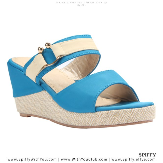 Fashion Modern Malaysia Wedges Shoes 舒适松糕鞋 Spiffy Brand CT3519003 Blue Colour Shoe Ladies Lady Leather High Heels Wedges Shoes Online Shopping 11Street Lazada 02