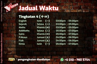 Jadual Waktu Tuition Kota Tinggi 2020 Eagle Vision Education Resources Subject Yang Diajar Sejarah Sains Maths AddMaths Fizik Kimia IGCSE Education Kota Tinggi Training A04