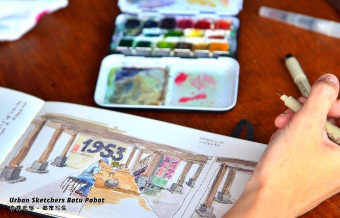 Urban Sketchers Batu Pahat Johor Malaysia Art Drawing Sketching 马来西亚 柔佛 峇株吧辖都市写生 艺术 画画 A010