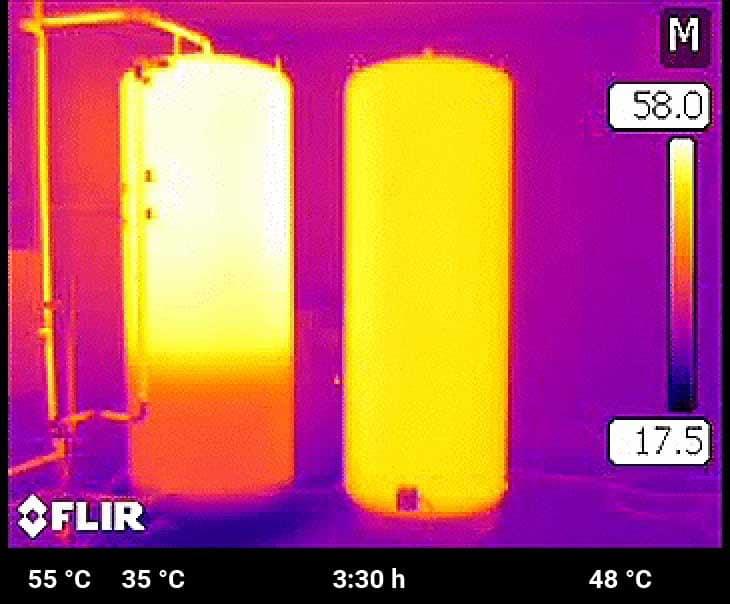 Der Schichtspeicher nimmt weiter Energie auf, indem die Temperatur in der Raumheizzone erhöht wird. Der Standardspeicher nähert sich der Trinkwassertemperatur.