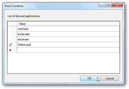 Show Contents dialog-Run only specified Windows applications