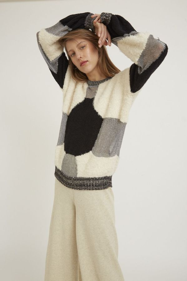 Loose-fitting textured cropped semitransparent sweater with a panel design with different yarns and textures