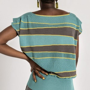 An everyday luxury. Oversize sleeveless textured top, with contrasting stripes and wide elastic wais