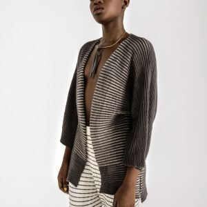 An everyday luxury. Textured knit cardigan, with 3/4 sleeves and open front
