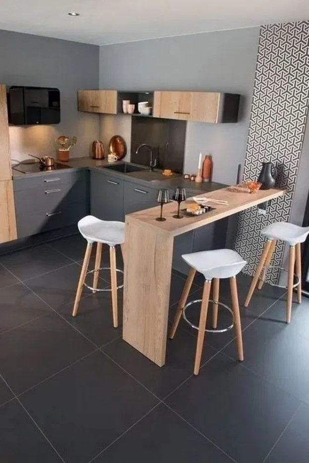 Best Creative Small Kitchen Design And Organization Ideas with Grey Wall and Dark Ceramic Flooring