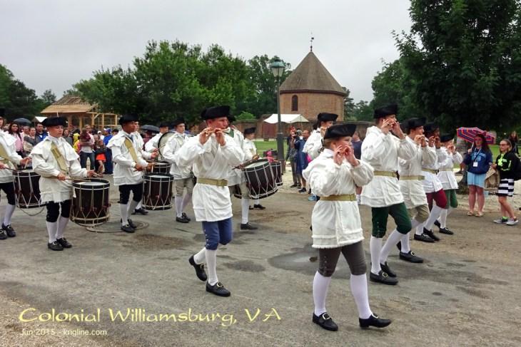 Patriotic parade, dressed in Colonial uniforms, in Colonial Williamsburg, VA
