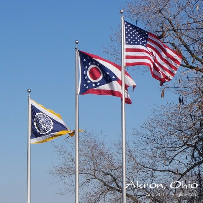 Some companies, universities, etc., also have unique flags. Here are the US, Ohio, and University of Akron flags.