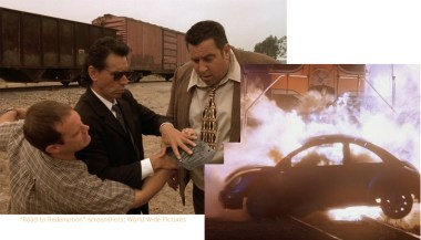 """After a train destroyed Amanda's car (bottom right), a hit man """"reads"""" clues on the cars license tag."""