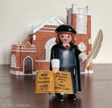 """I bought this little """"Martin Luther"""" in Germany, on the 500th anniversary of his world-changing Oct 31, 1597 declaration: the first """"Reformation Day."""""""