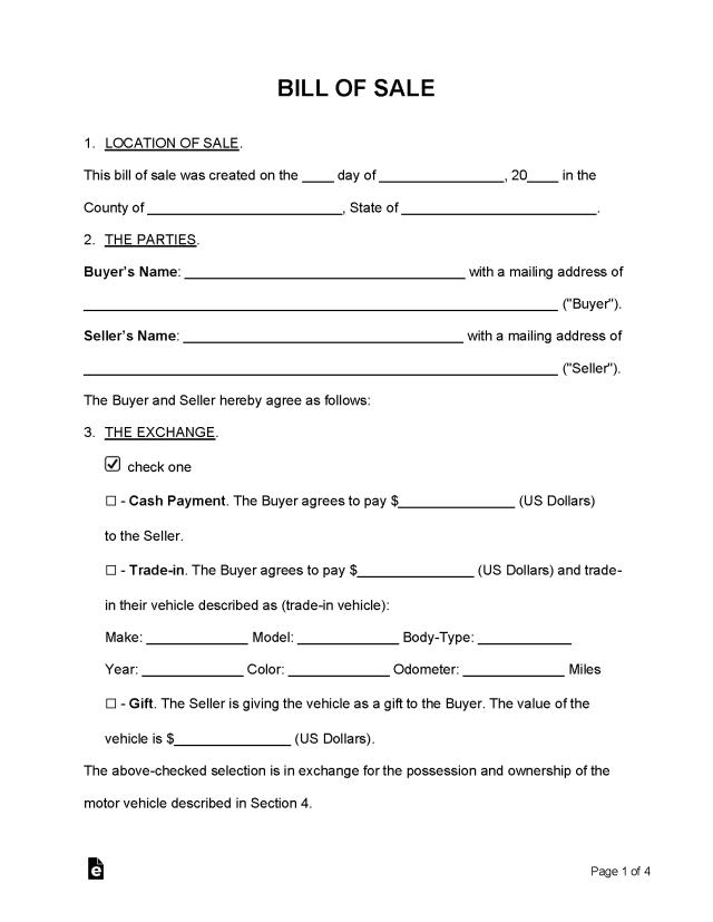 Free Bill of Sale Form - Word  PDF – eForms