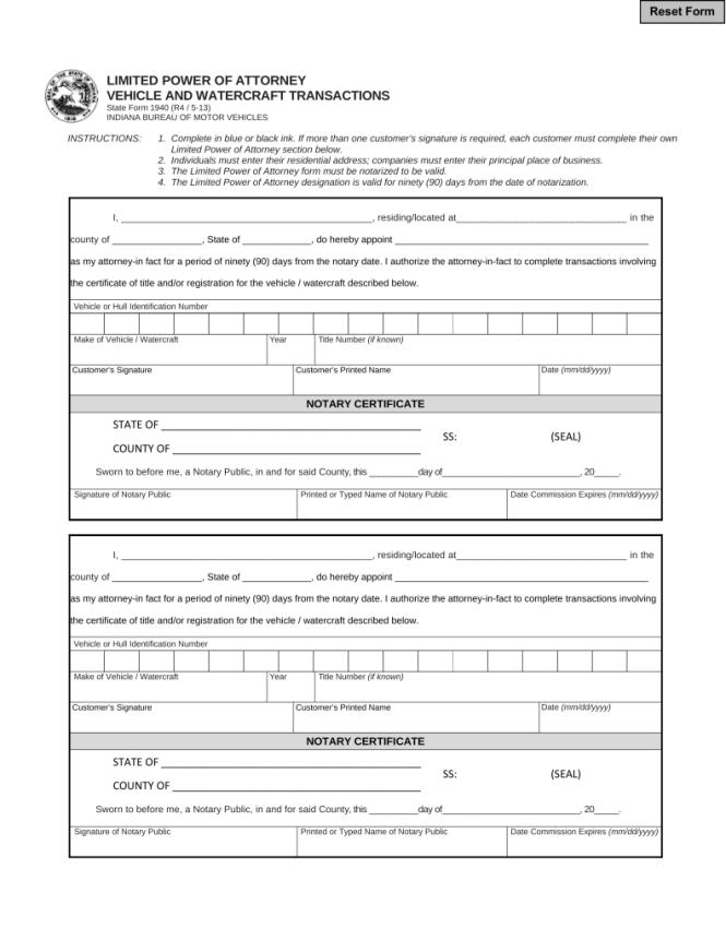 Alabama Motor Vehicle Power Of Attorney Form Mvt 5 13