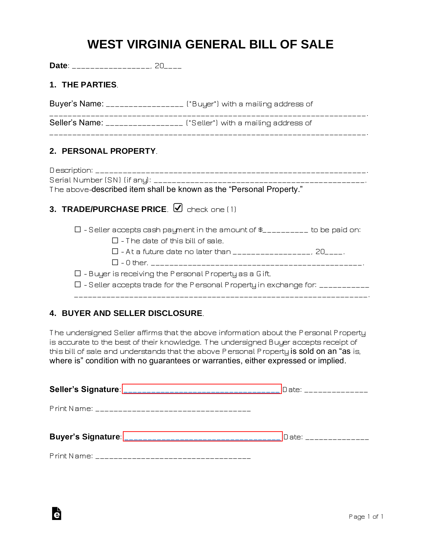 Free West Virginia General Bill Of Sale Form