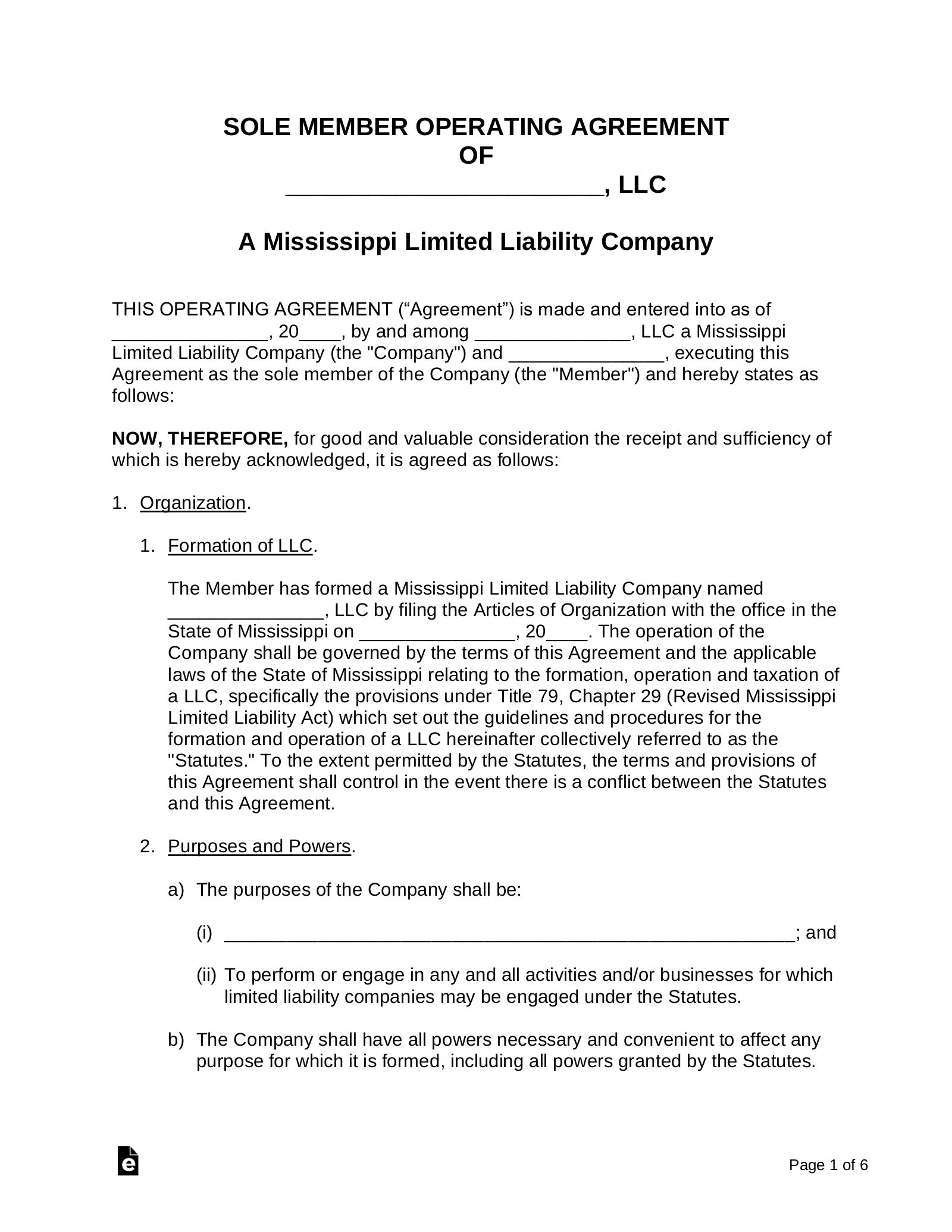 An llc operating agreement describes the operating rules of a limited liability company. Free Mississippi Llc Operating Agreement Templates Word Pdf Eforms