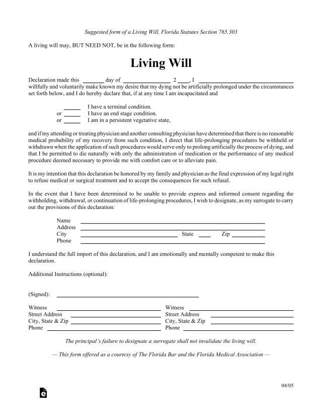Free Florida Living Will Form - PDF – eForms