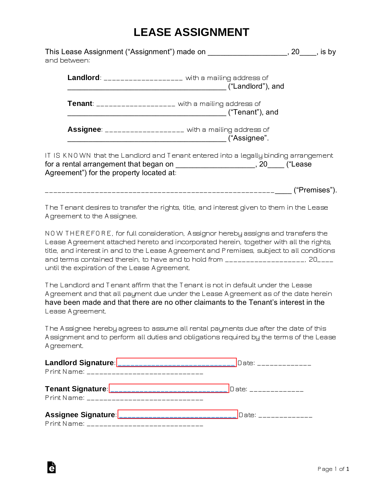 Free Assignment Of Lease Form