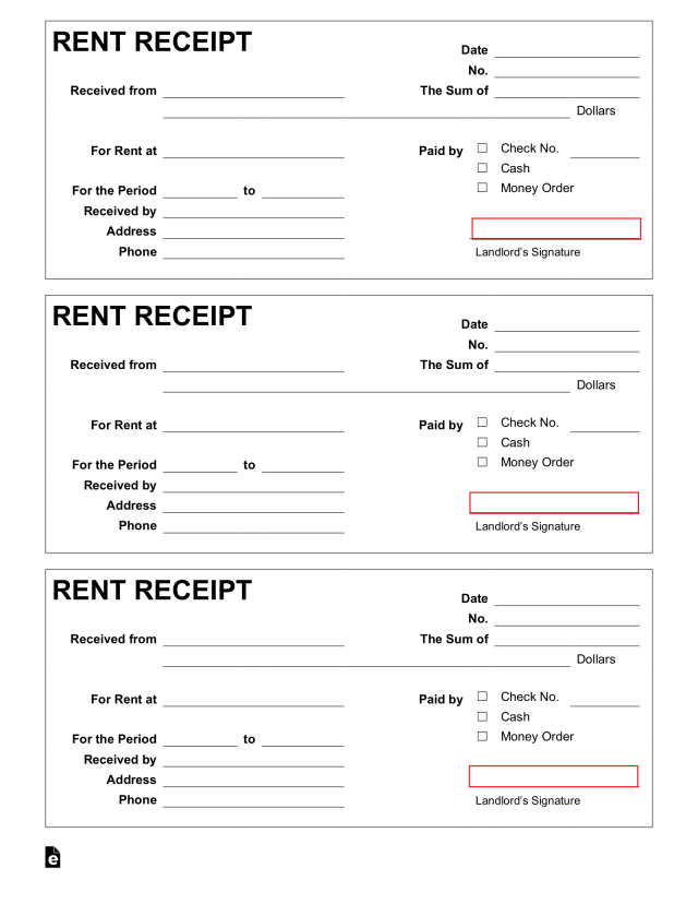 Free Rent Receipt Template - PDF  Word – eForms