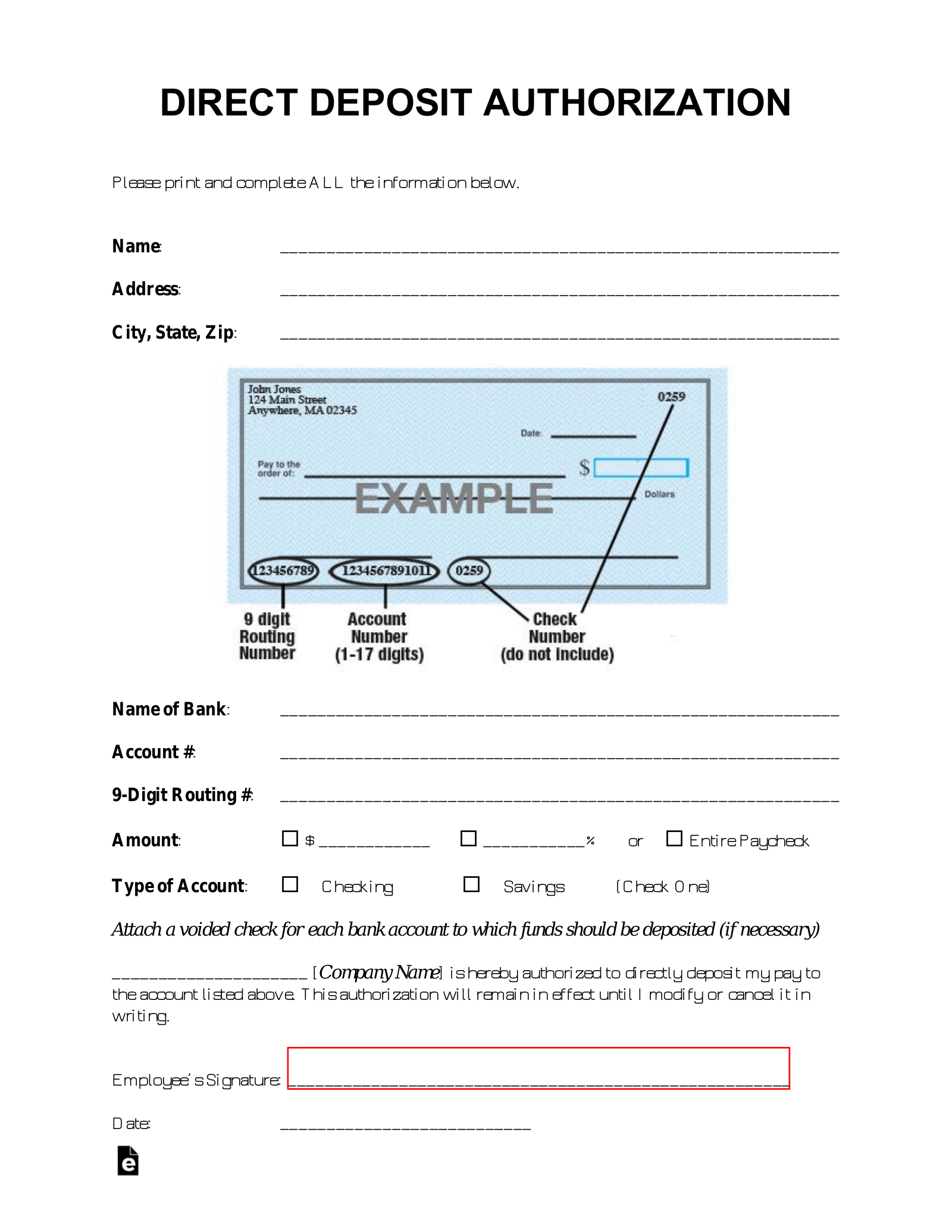 Free Direct Deposit Authorization Forms