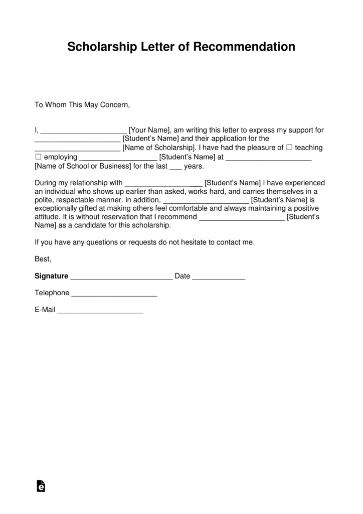 Free College Recommendation Letter Template  eForms