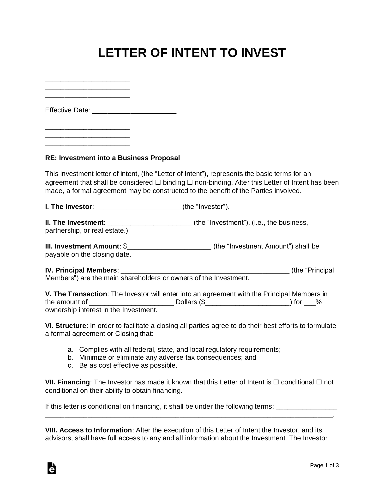 Free Business Proposal (Investment) Letter of Intent Template