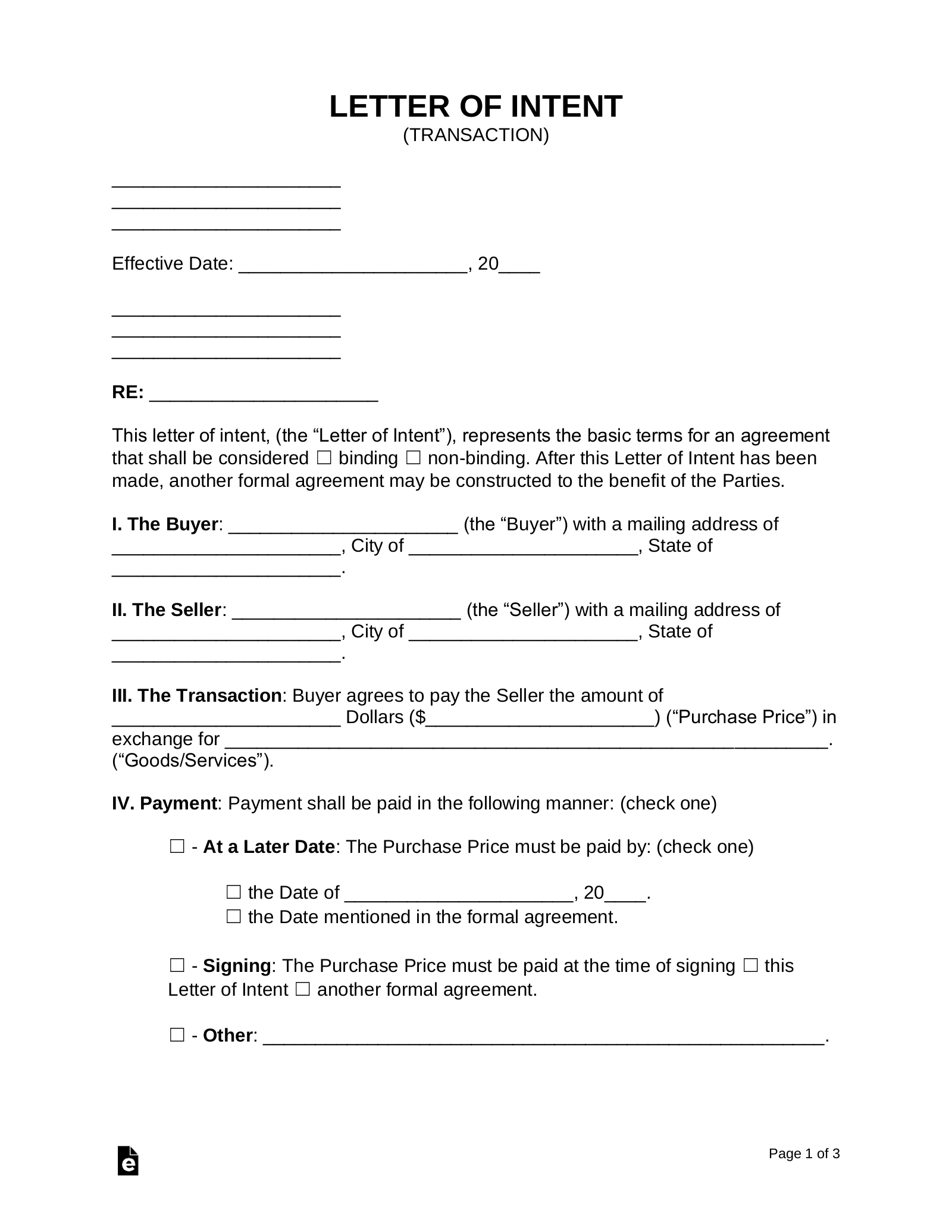 Free Letter of Intent (LOI) Template - Word  PDF – eForms