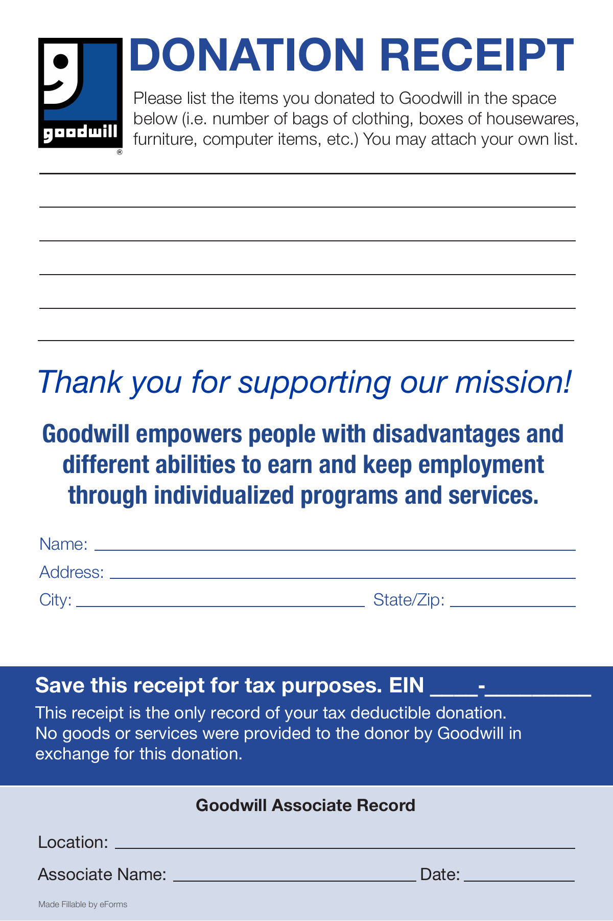 Gutsy Goodwill Printable Application
