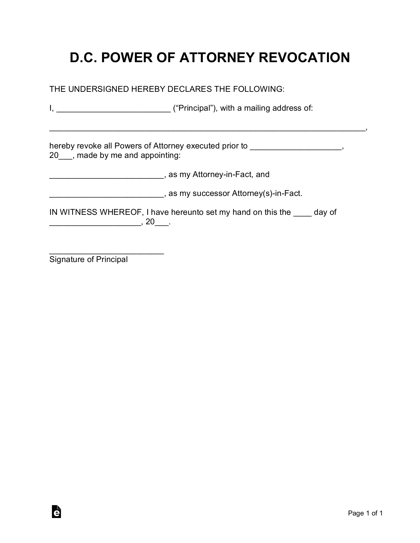 Free Washington D C Power Of Attorney Revocation Form