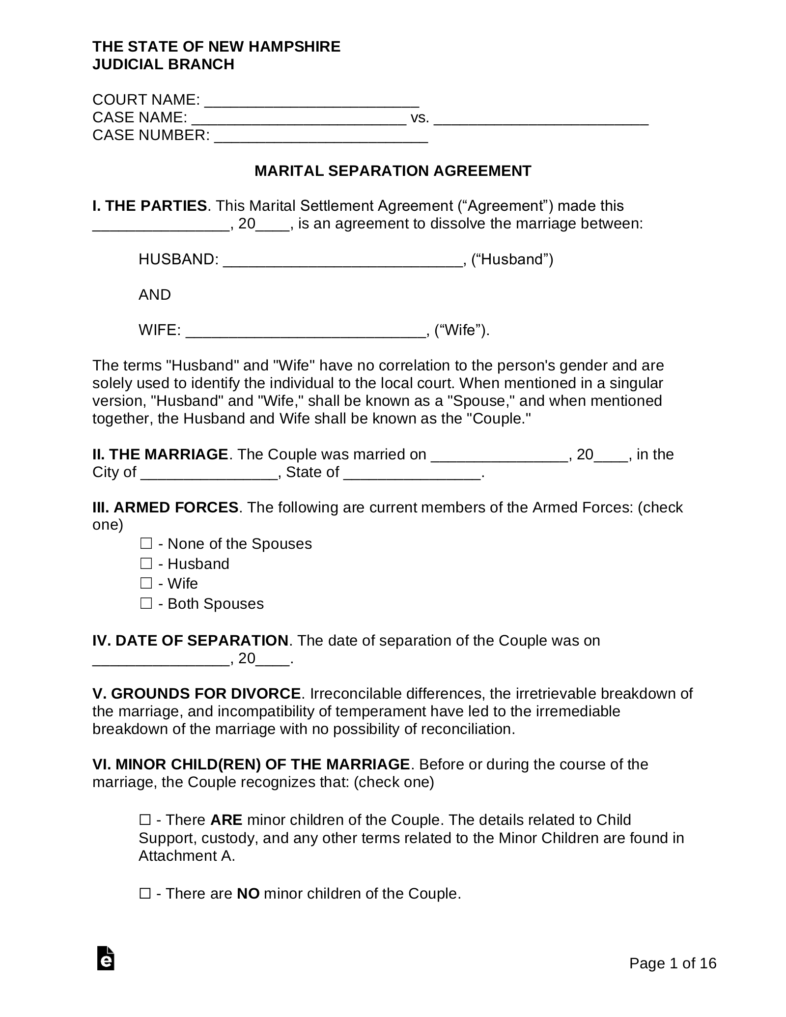 Free New Hampshire Marital Settlement Agreement