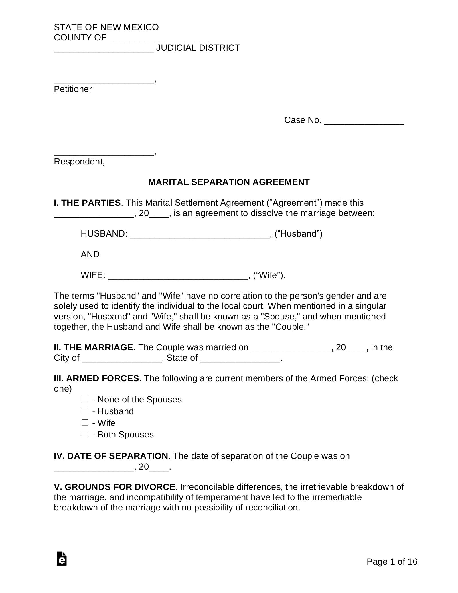 Free New Mexico Marital Settlement Agreement