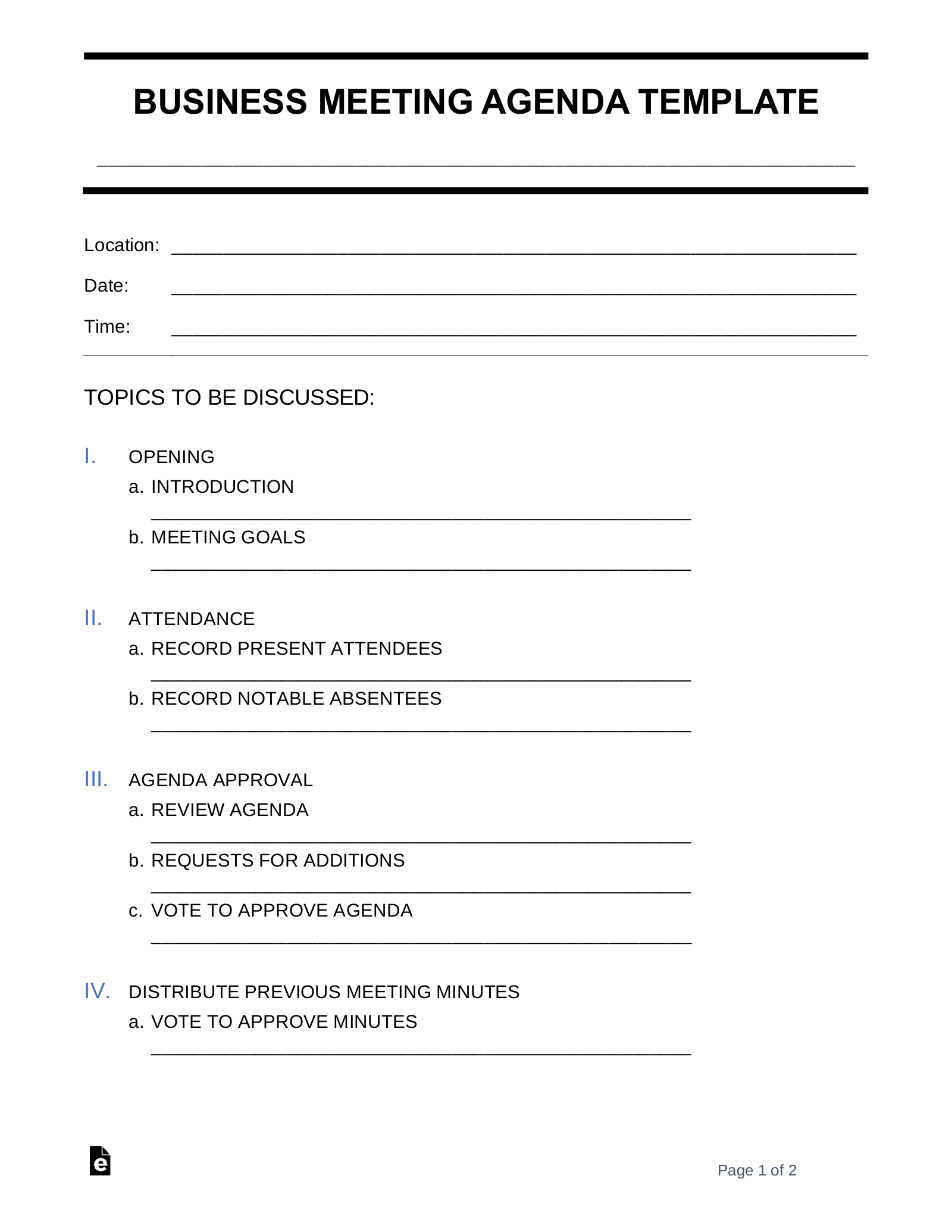 Use a meeting agenda to make sure all the important. Free Business Meeting Agenda Template Sample Word Pdf Eforms
