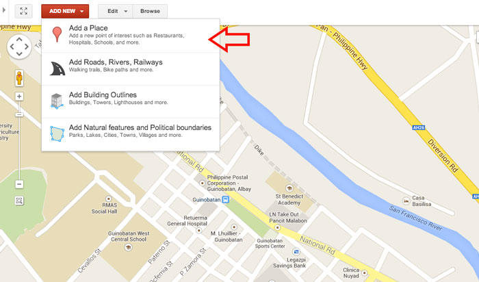 How to add place in Google Map Step 3