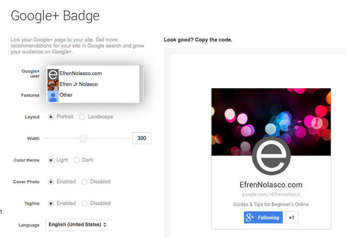 Create-Google-Plus-badge