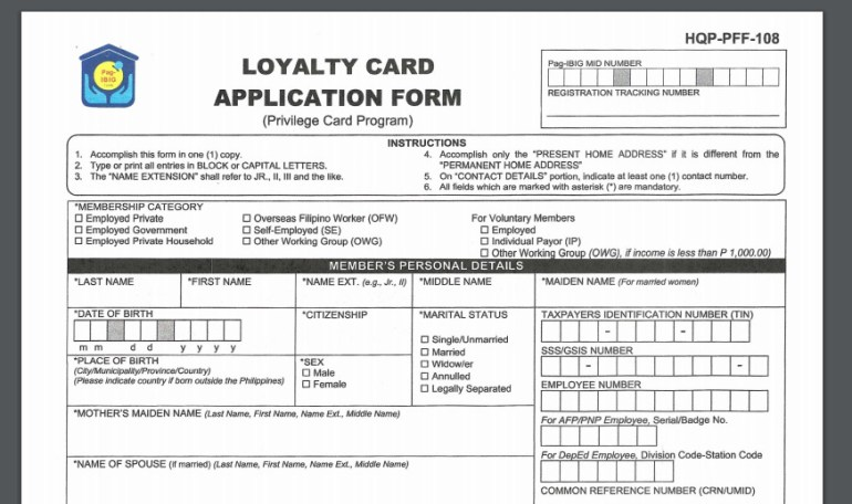 Pag-ibig-fund-loyalty-card-application-form