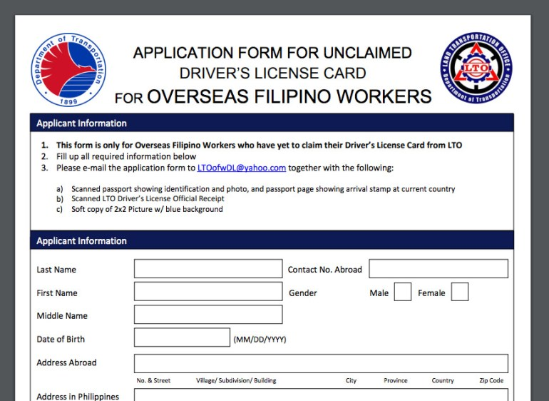 OFW-Unclaim-Driver's-License-Card-Application-Form