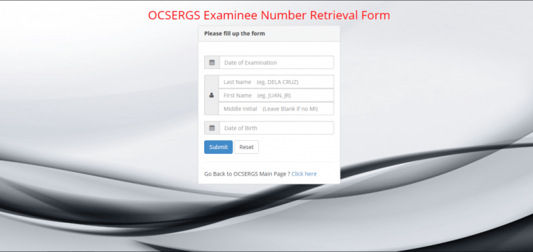 OCSERGS Examinee retrieval